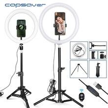 Capsaver 10 אינץ 12 אינץ LED טבעת אור Dimmable USB טבעת מנורות איפור מנורת עם טלפון מחזיק חצובה עבור tik tok Youtube וידאו