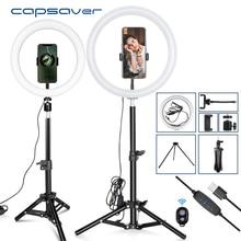 Capsaver 10 인치 12 인치 LED 링 라이트 디 밍이 가능한 USB 링 램프 메이크업 램프와 전화 홀더 삼각대 tik tok Youtube 비디오