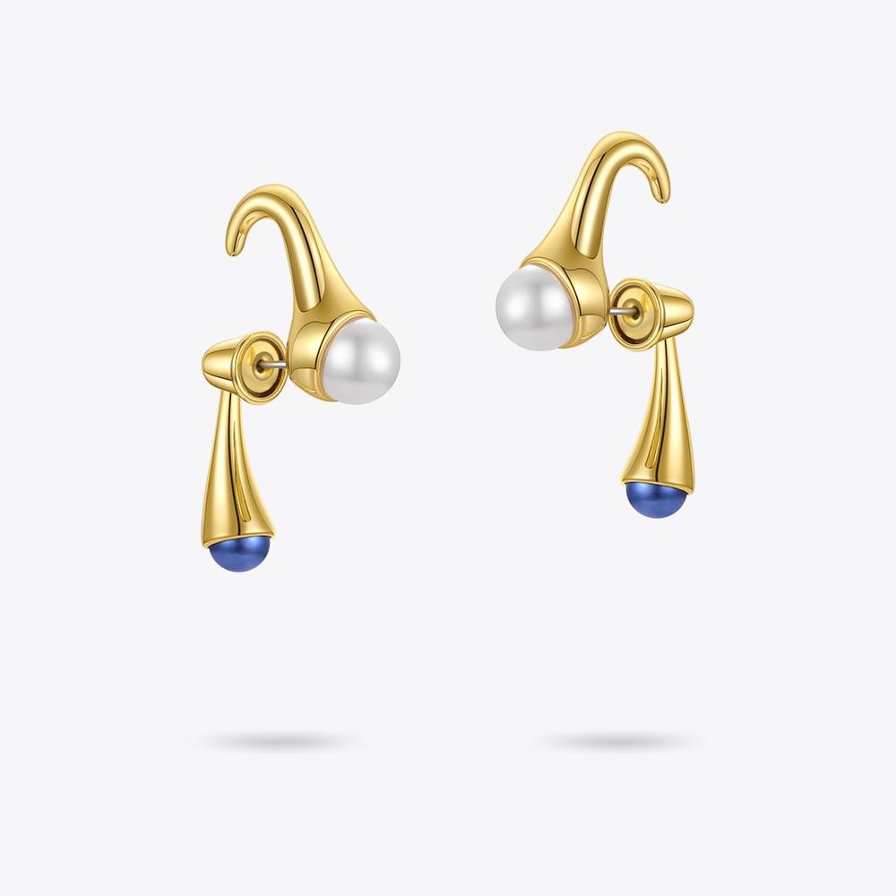 ENFASHION Cartoon Piercing Pearl Ear Stud Earrings For Women Blue Pearls Gold Color Earings Pendientes Fashion Jewlery E211232