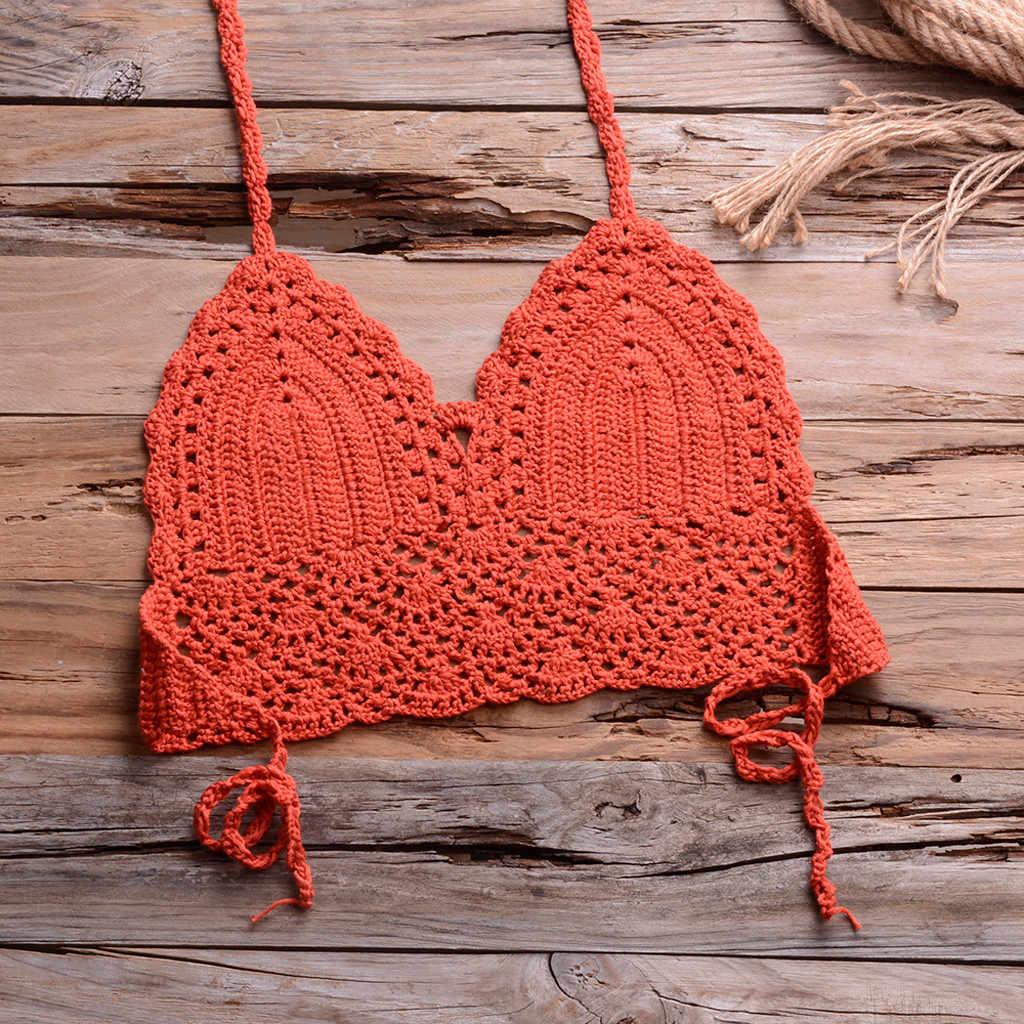 Stałe Bikini Mujer strój kąpielowy szydełka czerwone Bikini topy dzianiny seksowne Bikini damskie pływanie biustonosz duże damskie stroje kąpielowe L 2020 nowy # y30