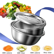 LMETJMA 3 в 1 устройство резки овощей сливная корзина из нержавеющей стали для овощей
