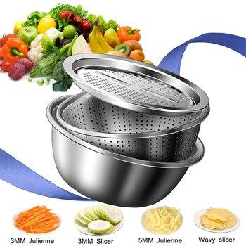 LMETJMA 3 in 1 Vegetable Slicer Cutter Drain Basket Stainless Steel Vegetable Julienne Grater Salad Maker Bowl KC0410
