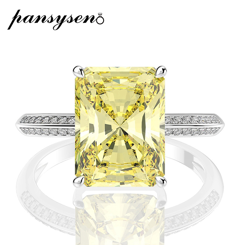 PANSYSEN Shining 8ct Natural Citrine Diamond Wedding Engagement Ring 100% 925 Sterling Silver Party Cocktail Fine Jewelry Ring