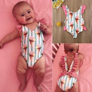 Baby Girls Swimwear Infant Kids Baby Girls Fashion Print Reffled Bowknots Swimsuit Swimwear Swimming Children Bathing Suit(China)