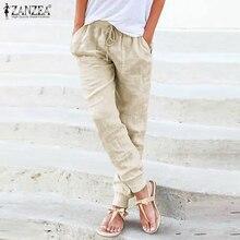 Vintage Harem Pants ZANZEA Women's Autumn Trousers Casual Elastic Waist Pantalon Palazzo Female Drawstring Turnip Plus Size 5XL