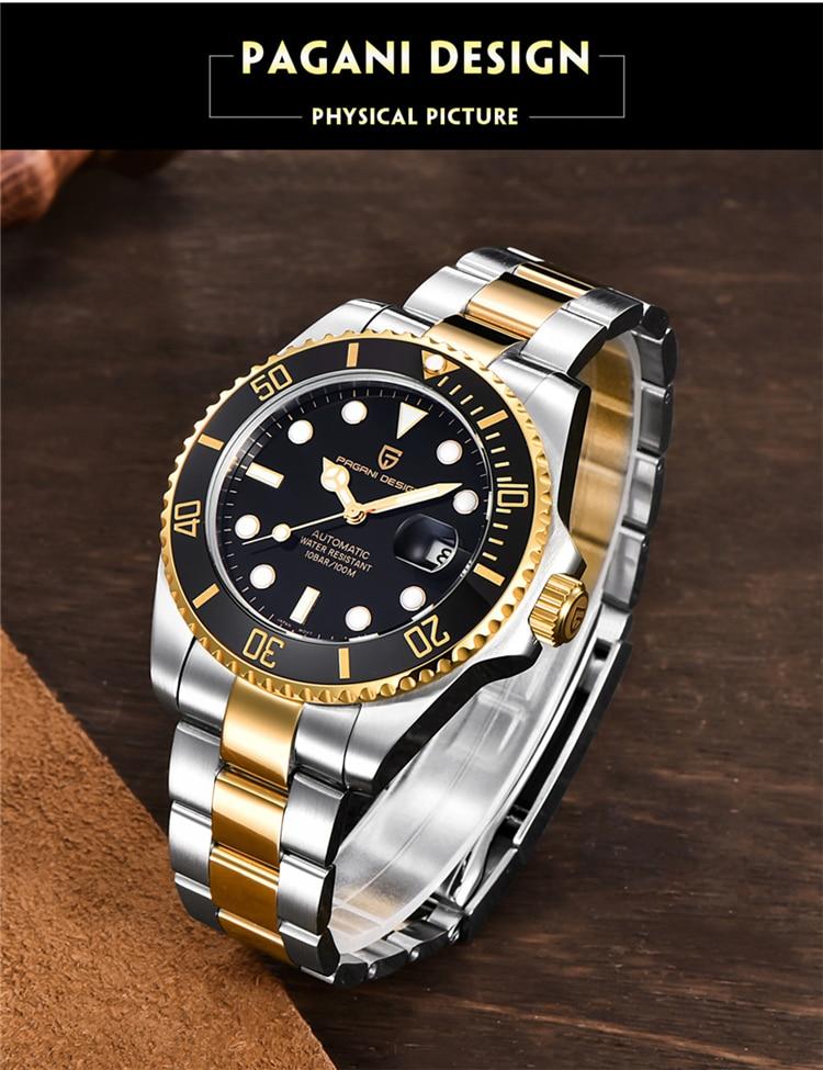 H6b1f1094e22d46609f7050170e04033bT PAGANI Design Brand Luxury Men Watches Automatic Black Watch Men Stainless Steel Waterproof Business Sport Mechanical Wristwatch