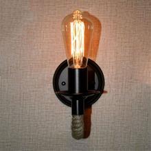 Lámpara de pared con cuerda de cáñamo estilo Retro americano, aplique clásico de pared junto al salón, iluminación para Loft, iluminación para escaleras, iluminación para paredes interiores