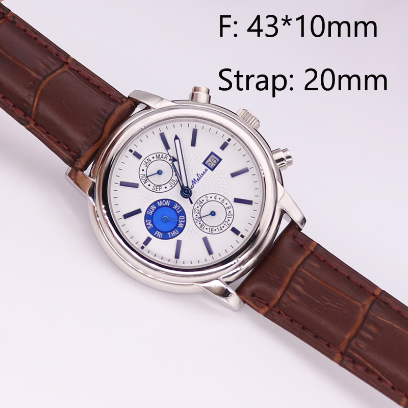 SALE!!! Discount Real Multi-function Men's Watch All Stainless Steel Case Auto Date Cubic Zircon Crystal Leather Boy's Gift