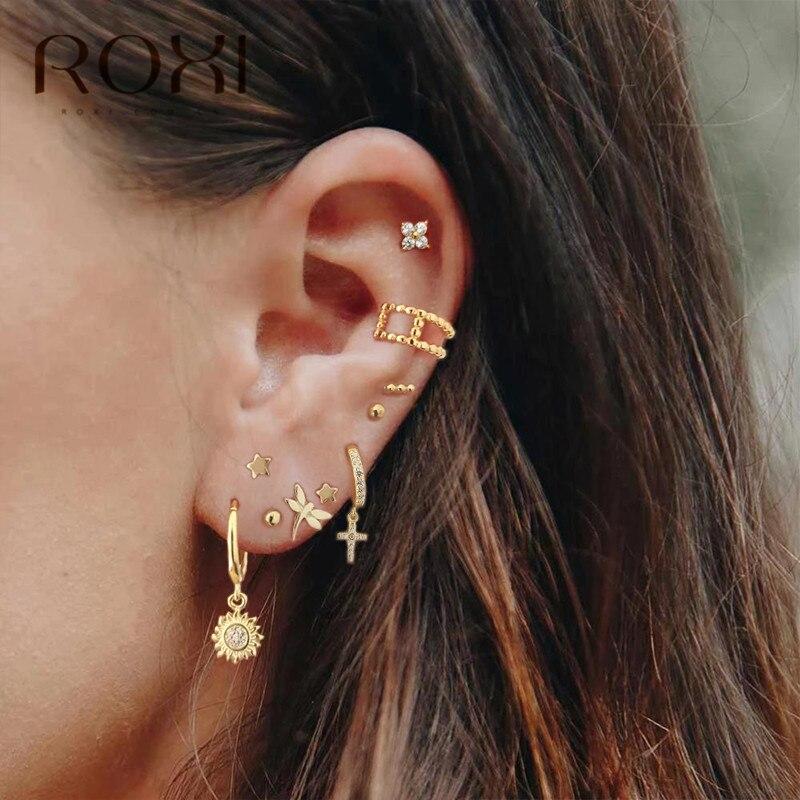 ROXI 925 Sterling Silver Stud Earrings For Women Tiny Dot Arrow Cactus Small Earrings Boho Leaf Earrings Korean Piercing Earings