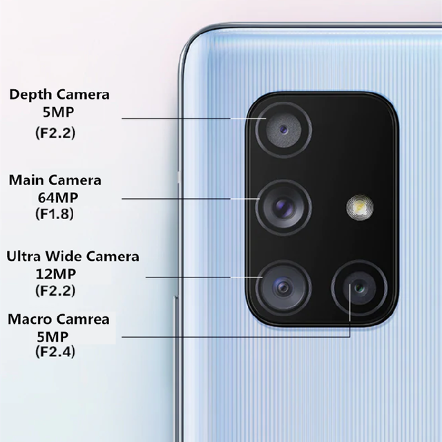 "Original Samsung Galaxy A71 5G 98%  Almost New Unlocked Dual Sim Cell Phones A7160 6.7"" 8GB+128GB ROM Snapdragon Octa Core NFC 5"
