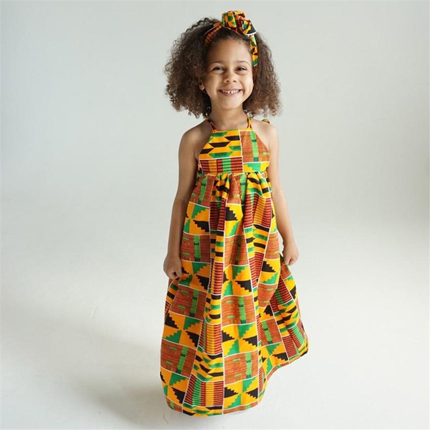Children African Traditional Dress Fashion Printed Off Shoulder Elegant Dashiki Girls Summer Floor Length Dress With Headband