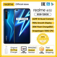Realme 6 Pro Smartphone 6 6 cala 8GB RAM 128GB ROM Snapdragon 720G telefon 4200mAh bateria 30W ładowanie błyskowe 64MP telefony komórkowe tanie tanio Nie odpinany CN (pochodzenie) Android Rozpoznawania linii papilarnych Rozpoznawania twarzy Do 120 godzin ≈64MP SuperCharge