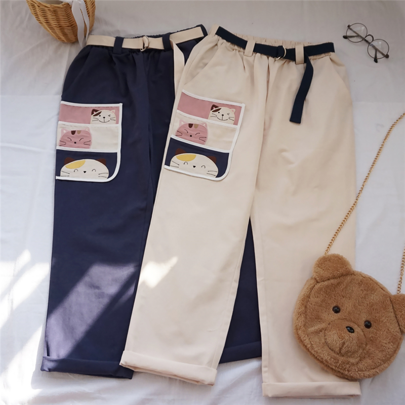 Korean Newest Harajuku Pants Women Streetwear Elastic High Waist Kawaii Cargo Trousers Cute Cat Patch Leisure Loose Pants Belt