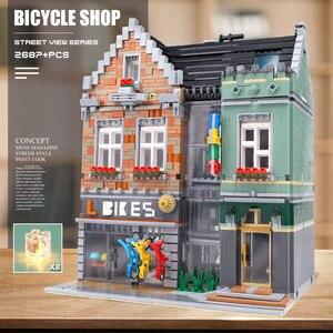 Image 5 - 15034 streetview建物のおもちゃとcompaitble 10004 mocバイクショップモデルビルディングブロック組立レンガキッズ子供のクリスマスプレゼント