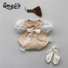 Newborn Baby Girl Summer Clothes Infant Kids Girls Onesie Clothing Mesh Bubble Sleeve Cotton Bow Baby Girl's Cute Bodysuits