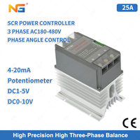 SCR Three Phase Thyristor Power Regulator 25A With 4 20mA Potentiometer control for heater Infrared lamp heating Control