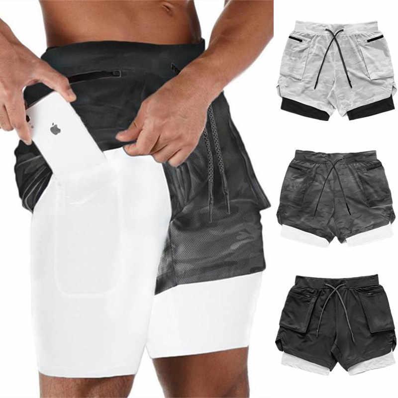 Pantalones cortos Joggers para hombre 2 en 1, pantalones cortos para gimnasio, culturismo, entrenamiento, pantalones cortos de secado rápido para playa, ropa deportiva de verano para hombre, pantalones cortos