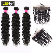 Malaysian Hair Water Wave Bundles With Frontal Non Remy Human Hair Weave 3 Bundles With Lace Frontal Closure Ably Hair Extension(China)