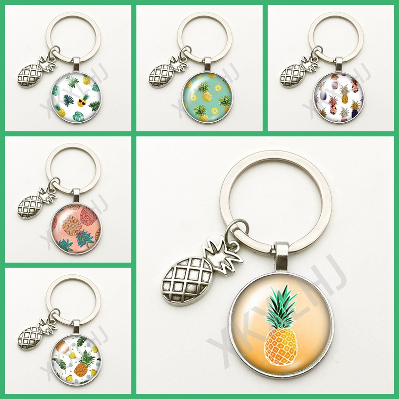 Hot Fashion Cute Pineapple Pendant Keychain Handmade Creative Glass Round Ornaments Men Women Souvenir Gift Festival Charm Bag