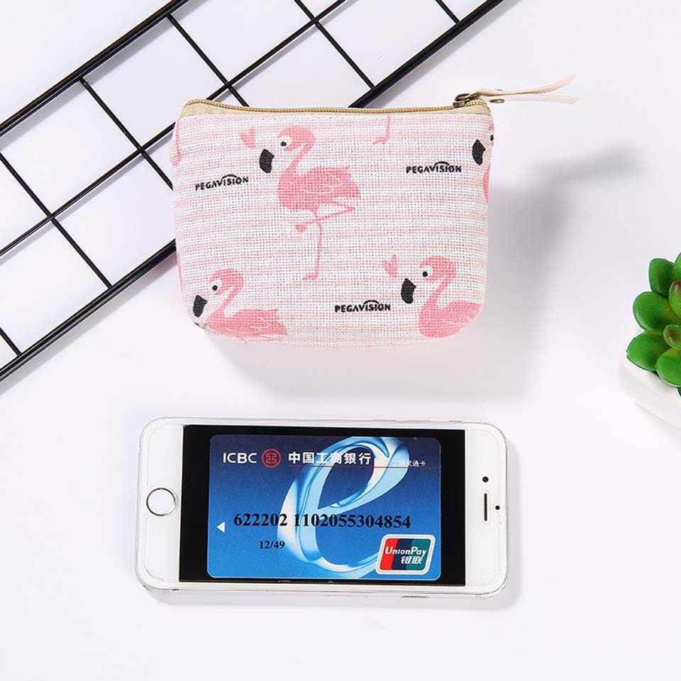 2018 New Girl Coin Purse Wallet Zipper Quadrado Mulheres de Algodão Bolsa de Moedas Titular do Cartão da Carteira Bolsa Chave Saco Caso