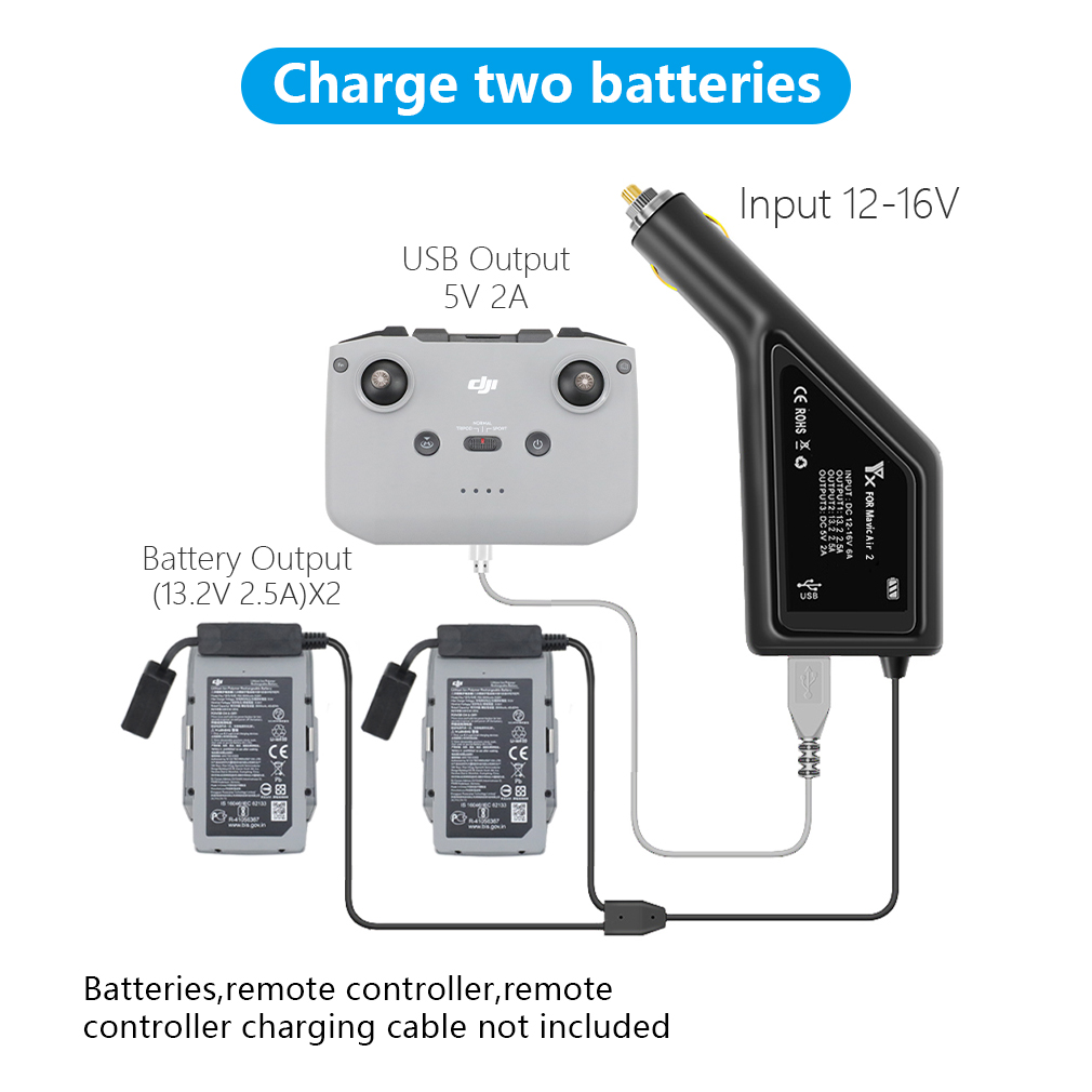 Mavic Air 2 Car Charger 3-in-1 Dual Battery Remote Charger with USB Port for DJI MAVIC Air 2 Drone Accessories