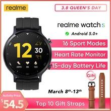 Realme relógio s versão global smartwatch à prova d15 água 15 dia bateria monitor de oxigênio no sangue relógio controle música para android telefone