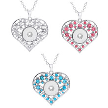 Multi Colorful Heart Necklace 18mm Snap Buttons Rhinestone Pendant for Women Jewelry 12 Pieces Assorted Colors Wholesale