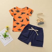 Sommer Casual Baby Jungen Tuch Kinder Cartoon Dinosaurier Kurzarm Tops Solide Shorts Outfit Kleidung 2 stücke Kostüm Mode Junge set