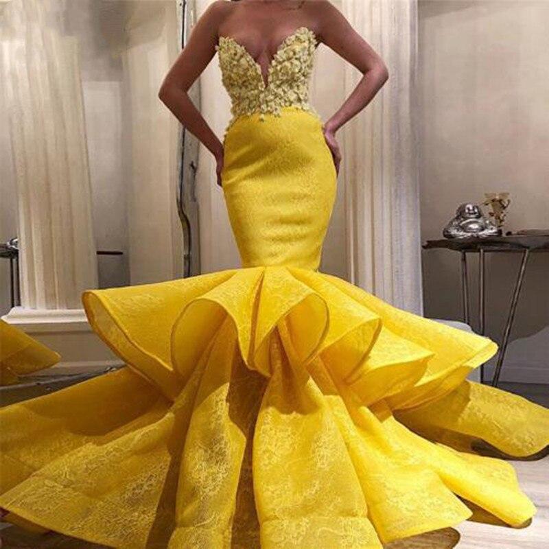 JaneVini Sexy Yellow Mermaid Long Prom Dresses Strapless Handmade Flowers Tiered Ruffles Lace Muslim Turkish Women Formal Gowns
