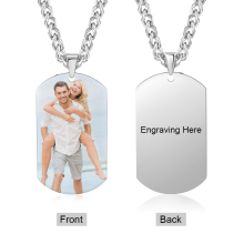 Photo Necklace Engraved-Pendant Cuban Personalized Link-Chains Memory Gift Steel Custom