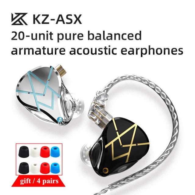 KZ ASX 10BA Unit 20Balanced Armature In ear Earphones HIFI Metal Monitor Headset  Sports Earbud Earphones KZ ZAX BA5 AS16 BA8