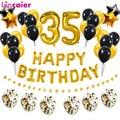 38 шт. номер 35 воздушный шарик из фольги в форме с днем рождения золотистый и черный латексных воздушных шаров с 35th 53 лет вечерние украшения ...