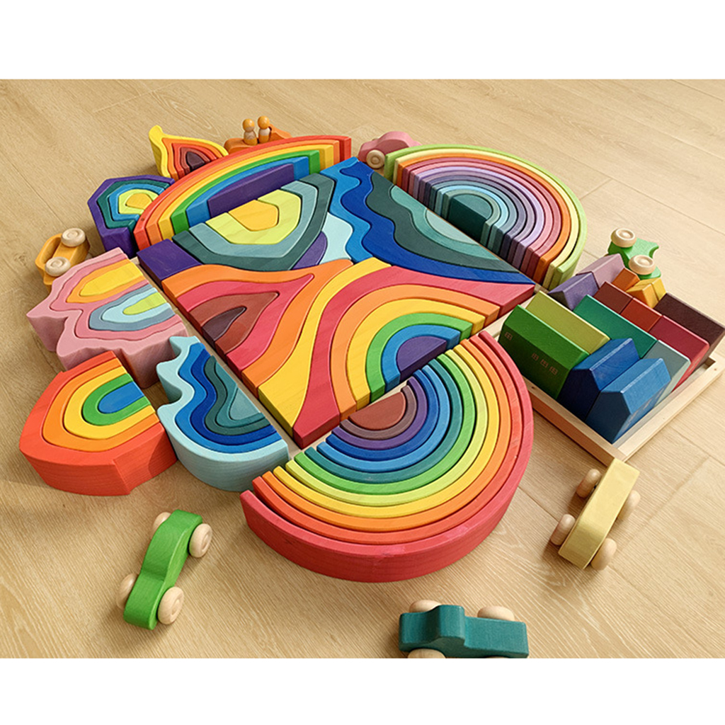 Rainbow Building Blocks Toy Stacking Game For Baby Hand-Eye Puzzle Learning Toy