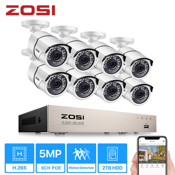 ZOSI H.265+ 8CH 5MP POE Security Camera System Kit 8 x 5MP Super HD IP Camera Outdoor Waterproof CCTV Video Surveillance NVR Set