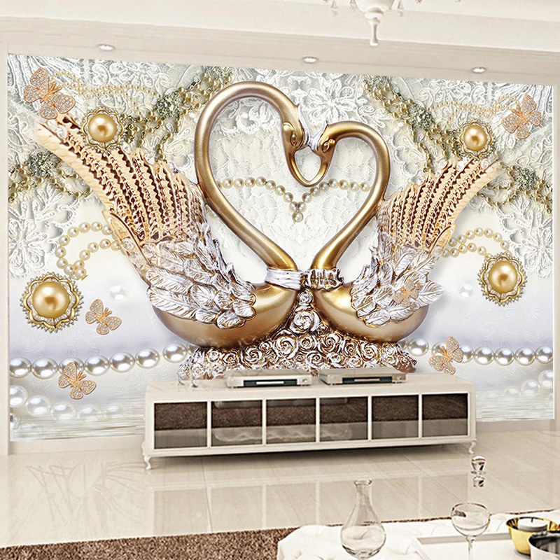Custom Photo Wallpaper 3D Stereo Swan Gold Pearl Murals Living Room TV Bedroom Luxury Home Decor Wall Papers Papel De Parede 3 D