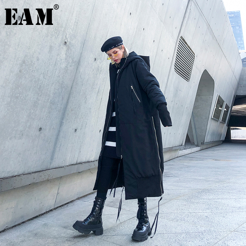 [EAM] Black Big Size Hooded Cotton-padded Coat Long Sleeve Loose Fit Women   Parkas   Fashion Tide New Autumn Winter 2019 1H886