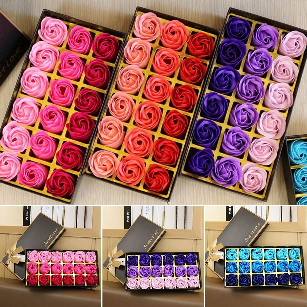 18Pcs/Set 4 Colors Flower Soap Rose Soap Scented Bath Body Petal Rose Flower Soap Case Wedding Decoration Gift Festival Box