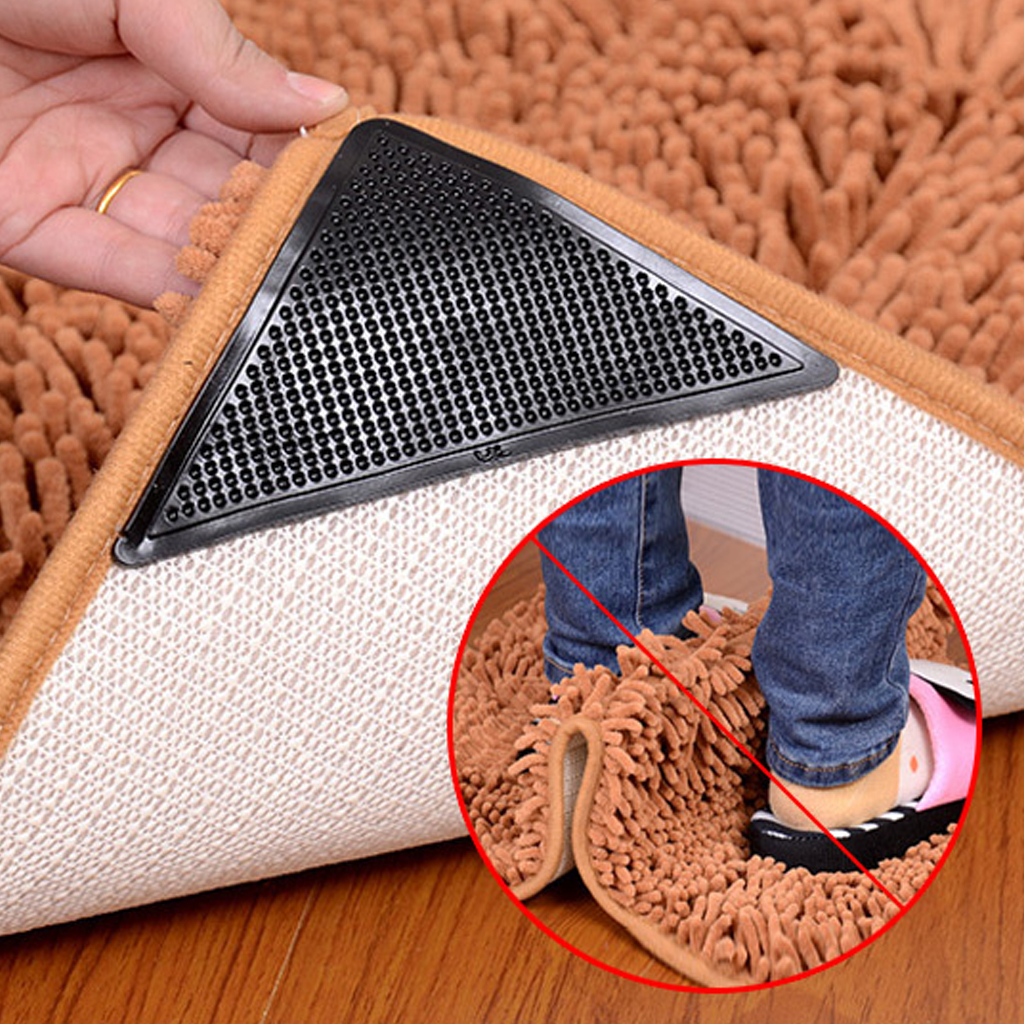 4pcs Reusable Washable Rug Carpet Mat Anti Slip Grippers Non Slip Tri Sticker Silicone Grip For Home Bath Living Room Pads A20