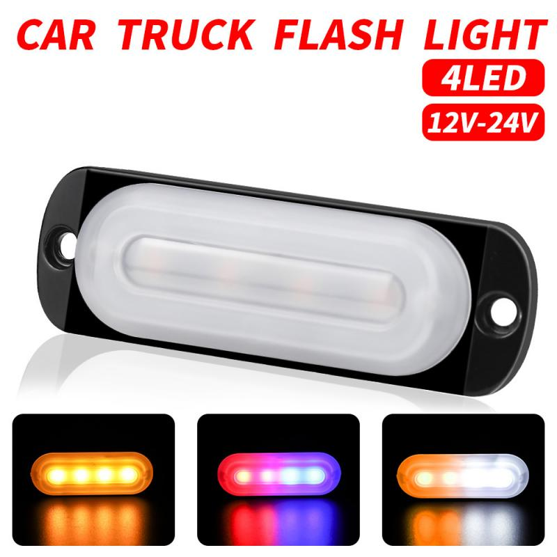 New Light Guide Pickup Flash Lamp 4LED Ultra Thin side lamps LED Slim Flash Light 18W 12V Warning Light Auto Car Accessories image