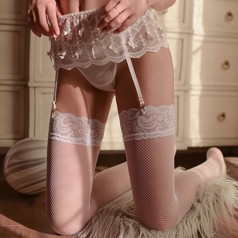 Solid Stockings White Women Sexy Set Thigh High Fishnet Nylon Long Socks Sex Belt Standard Over Knee Lace Socks Sexy Long Socks