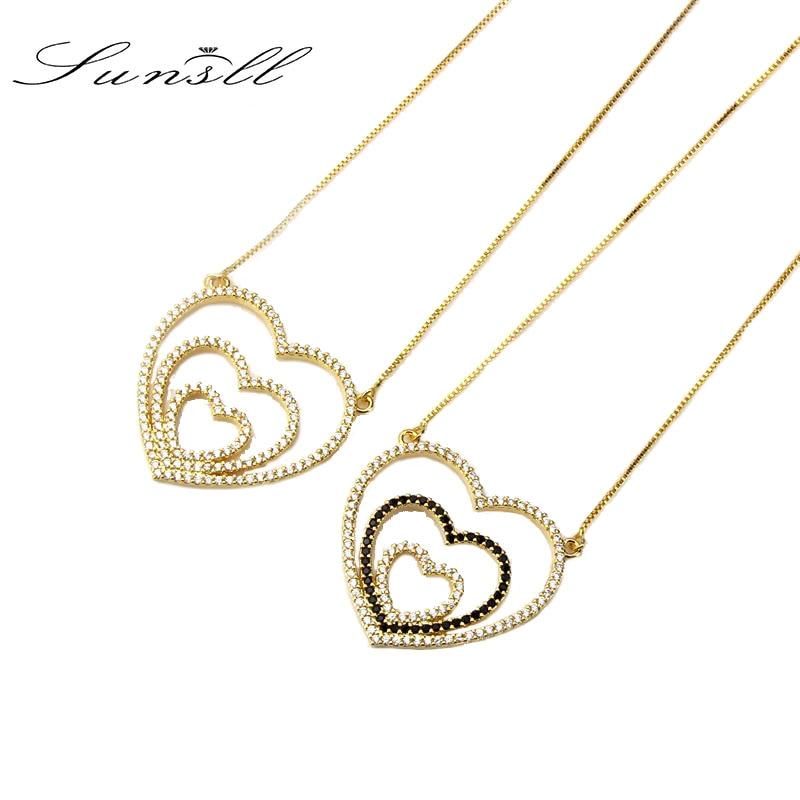SUNSLL Golden Color Copper White /Blue Cubic Zirconia Love Heart Pendant Necklaces Women's Fashion Jewelry CZ Colar Feminina