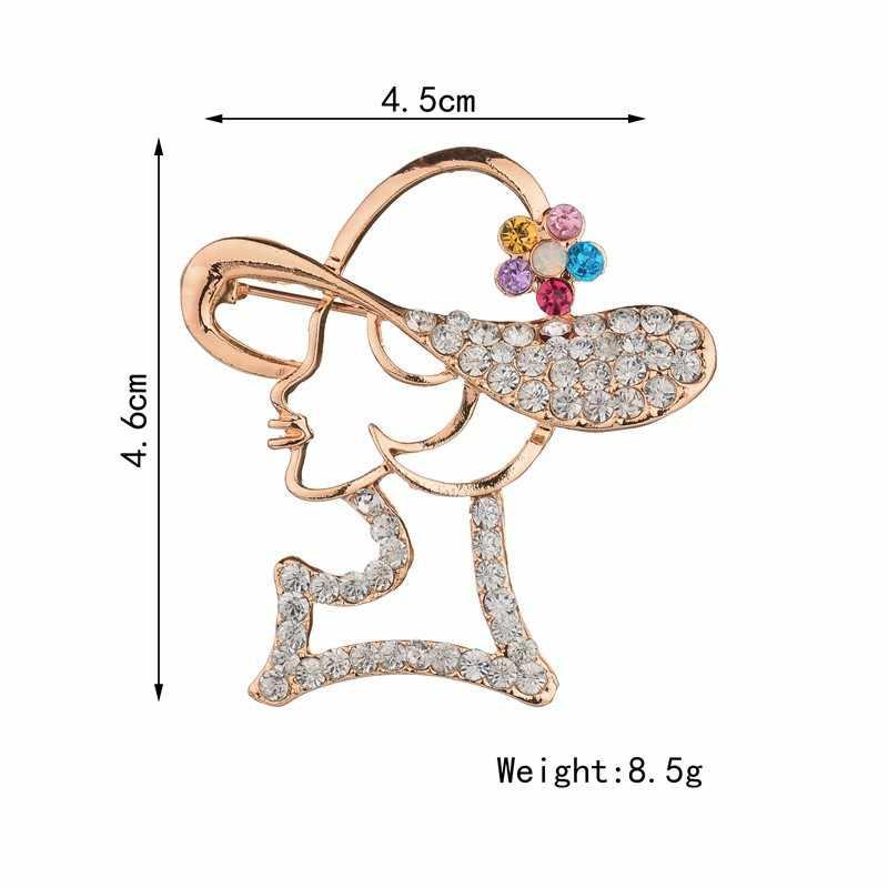 VOHE Creative creux moderne fille broches pour femmes coloré strass broche mode accessoires broche 2019 nouveauté