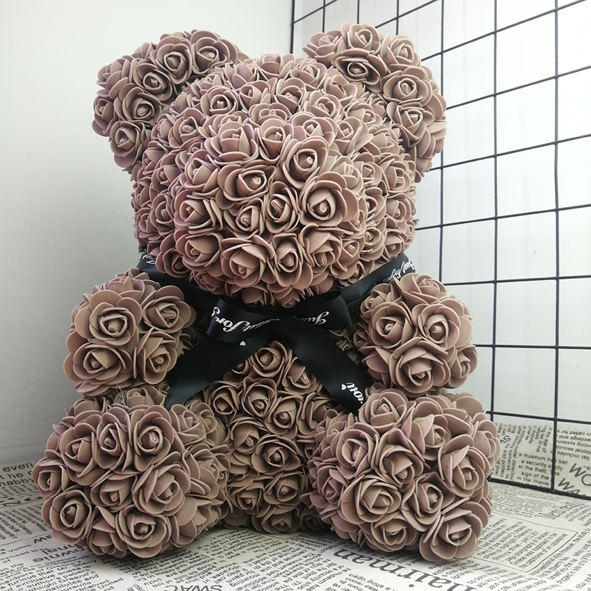 38cm Rose Bear Teddy Flowers Valentines Romantice Artificial Party Wedding Decoration DIY Gifts