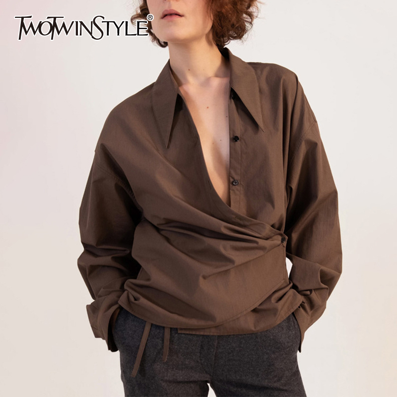 TWOTWINSTYLE Vintage Irregular Women's Shirt Lapel Collar Long Sleeve Large Size Asymmetrical Blouse Female Fashion 2020 Tide
