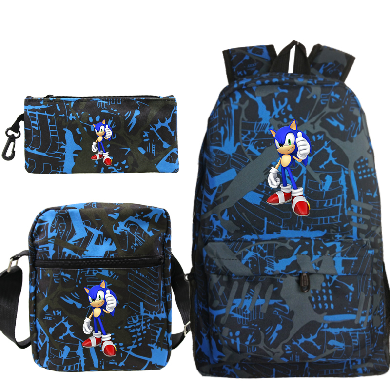 New Arrival Sonic Backpack Pencil Case School Bags For Teenager Boys Girls Shoulder Backpack 3Pcs/Sets Kids Travel Rucksack