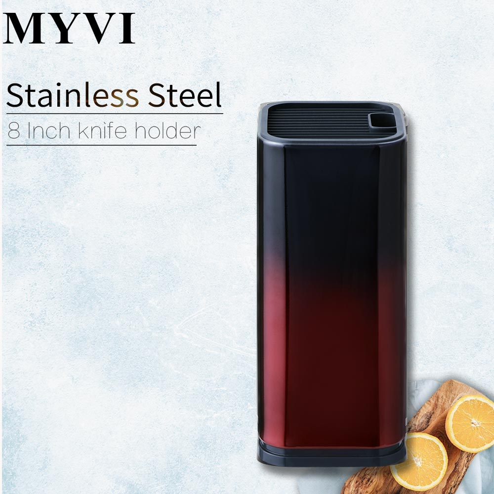 MYVI 8 Inch Knife Holder Gradient Red And Black Knife Stand Large Capacity Knives Block Stainless Steel+PP Storage Holder Tools