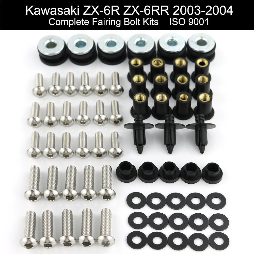 For Kawasaki ZX6R ZX-6R ZX-6RR 2003 2004 Motorcycle Complete Cowling Full Fairing Bolts Kit Nuts Fairing Clips Stainless Steel