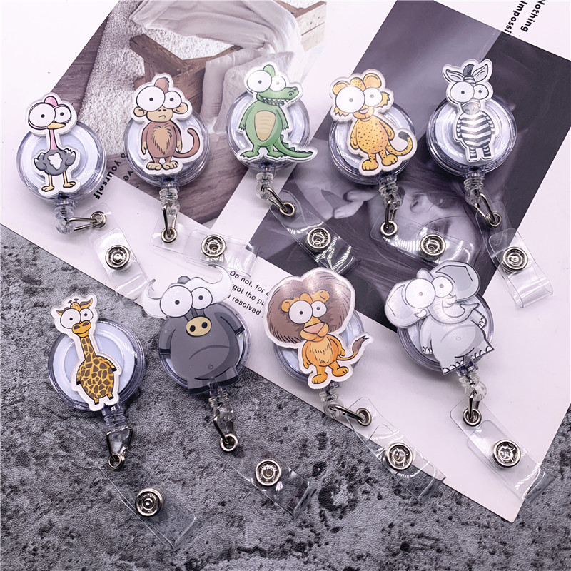 10Pcs/lot Animal Retractable Pull Badge ID Lanyard Name Tag Card Badge Holder Reels Key Ring Chain Clips School Student Office