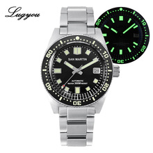 Lugyou San Martin 62Mas Diver Mechanical Automatic Men Watch Stainless Steel NH35 Ceramic Bezel Rubber Band Sapphire Glass