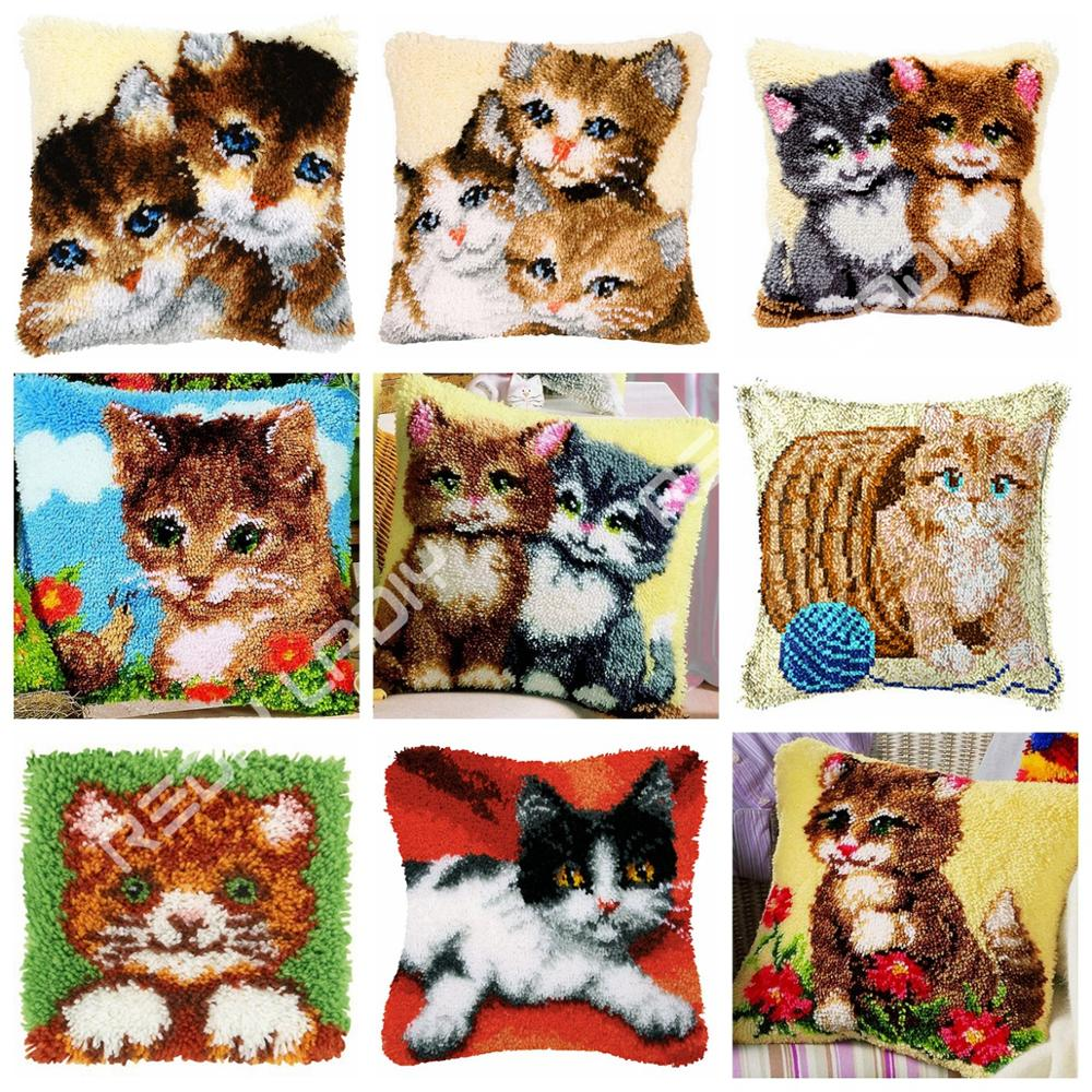DIY Latch Hook Cushion Animal Cats Pillow Case Crochet Hobby & Crafts Acrylic Yarn for Embroidery Cushion Cover Sofa Bed Pillow